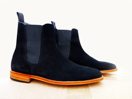 Handmade Men's Navy Blue Suede High Ankle Dress Chelsea Boots image 3