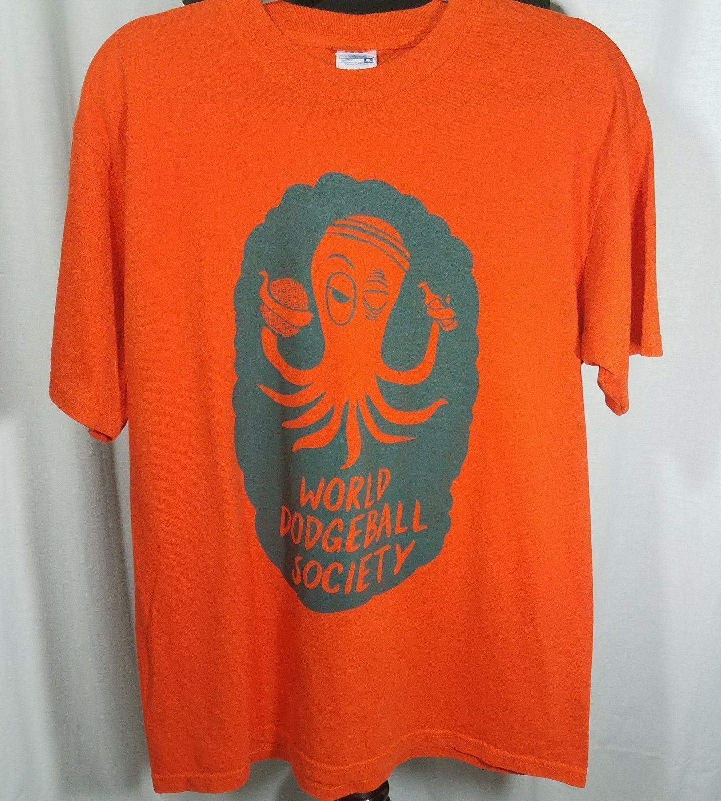 World Dodgeball Society T Shirt Orange Gray Octopus Ball Mens Size L