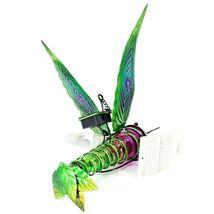 Painted Metal & Glass Solar Powered Light Garden Decoration Hummingbird Decor image 3