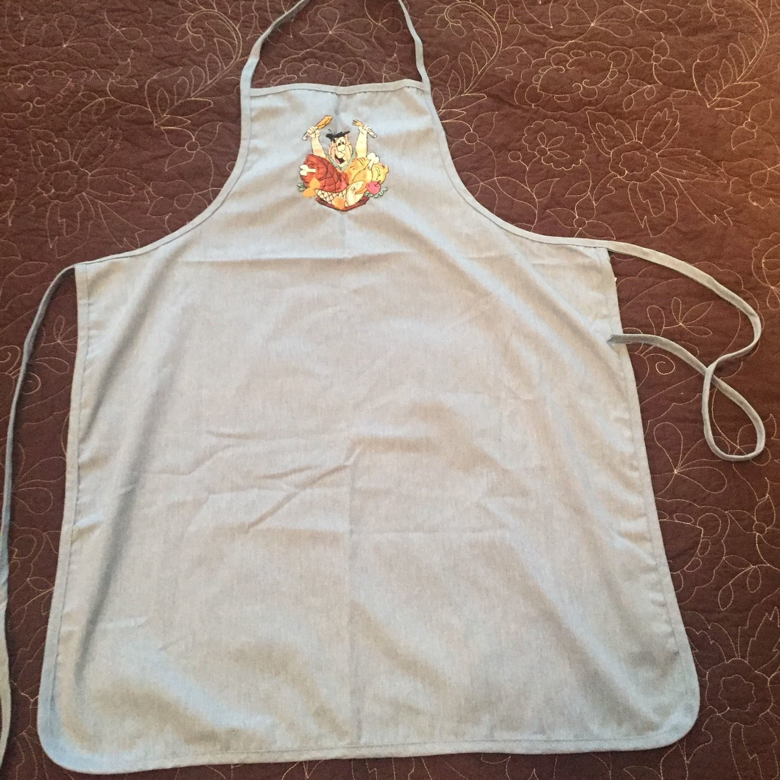 Fred Flintstone Embroidered Denim Blue Chef Apron Hanna Barbara Gift