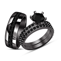 Round Diamond 14K Black Gold Finish Engagement Ring Wedding Band Trio Ri... - $154.99