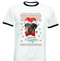 Merry Christmas Rottweiler - New Black Ringer Cotton Tshirt - $27.47