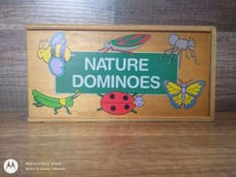 Vintage Nature Dominos 1989 Natural Wood And Case - $24.75