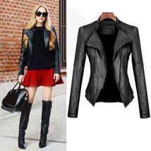 Women Stand Collar Motorcycle Jacket Slim Fit Biker Zipper Leather Coat ... - $52.70