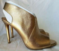Jessica Simpson Jourie Gold Metallic Gala Peep Toe Slip On Sandal 7.5 M NEW - $78.21
