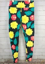 LULAROE Leggings Spring / Summer Floral Print on Black Yellow/Pink OS On... - $20.67
