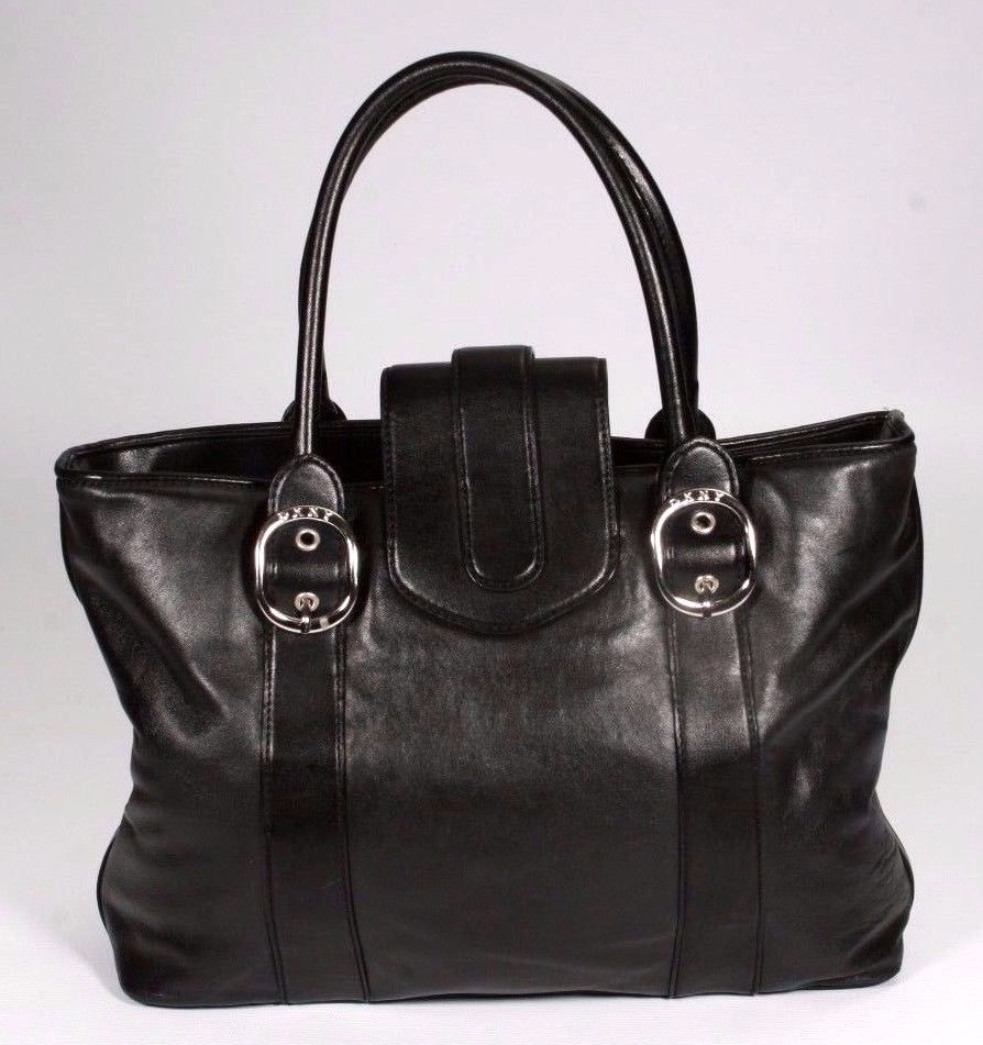 DKNY Black Leather Triple Compartment Tote Shopper Handbag
