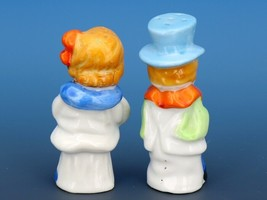 Vintage Novelty Salt & Pepper Shaker Set Japanese Porcelain Dapper Boy & Girl image 2