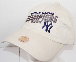 NEW YORK YANKEES CHAMPIONS 2009 HAT - ONE SIZE ADJUSTABLE BEIGE SLOUCH C... - $14.88