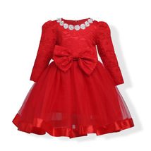 Red Long Sleeve Lace Flower Girls Dress O-Neck Pricess Prom Gowns With B... - $33.99