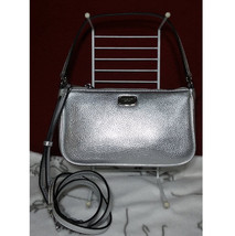 MICHAEL KORS Jet Set Medium Convertible Pouchette Bag Handbag silver Lea... - $94.05