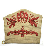 """Very Old 8"""" Cloth+Embroided Red Satchel or Purse Bag Antique Vintage Han... - $35.52"""