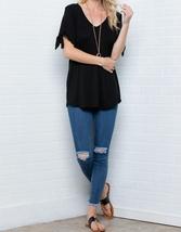 Cold Shoulder Top, Knotted Short Sleeves V Neck, Plus Size Tunics, Black image 7