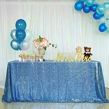 B-COOL 90x132 Inch Sequin Tablecloth Overlays Baby Blue Sparkly Glam Wed... - $47.01