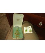 Vintage Park Lane Jewelry Green and gold color Necklace and Pair Earrings - $46.74
