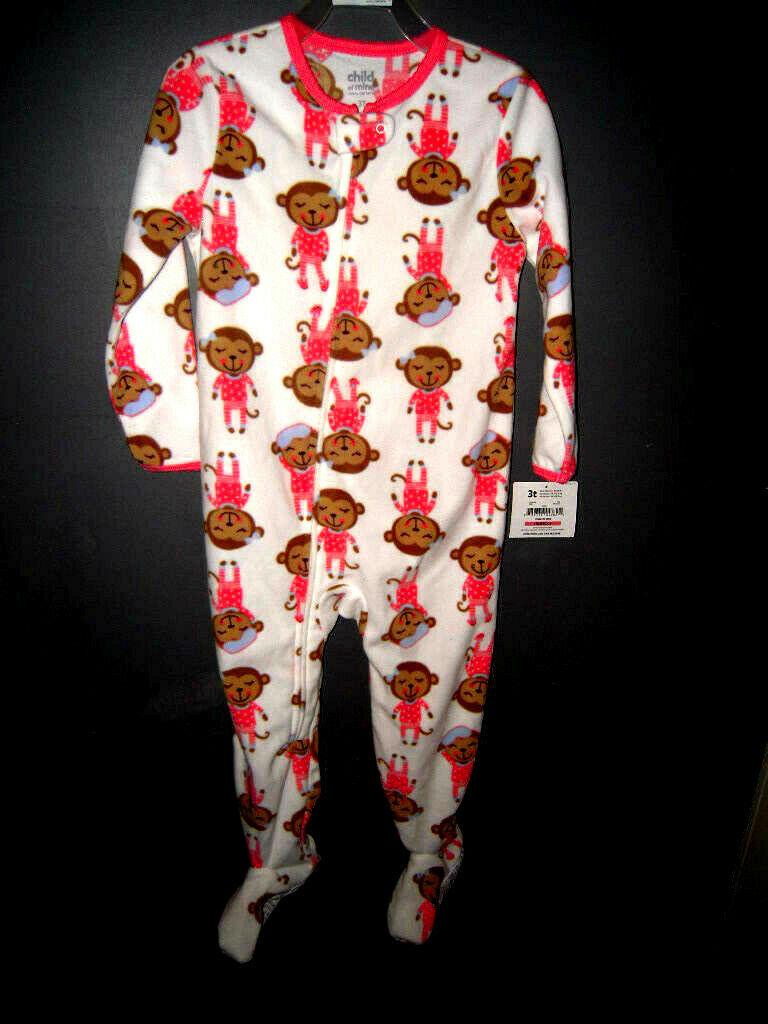 One piece Sleeping Monkey Girls Footie 3T/Child of Mine Carters - $5.71