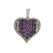 925 Sterling Silver Amethyst & CZ Gemstone Love Heart Cluster Pendant - $14.29