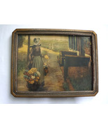 George Hitchcock Flower Girl in Holland Antique Framed Print Under Glass - $425.00
