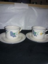 Lenox Chinastone Buttercups on Blue 2 Cups and 2 Saucers USA - $12.86