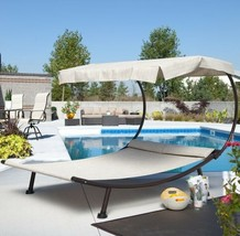Outdoor Patio Double Chaise Lounger with Sun Shade Canopy Poolside Deck ... - $275.11