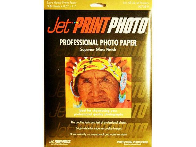 Jet Print Photo Professional Photo Paper, Extra Heavy, 15 Sheets