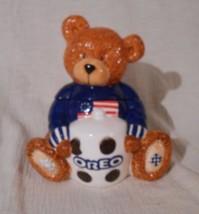 Houston Harvest Ceramic Oreo Patriotic Teddy Bear Cookie Jar Free Shipping - $29.95