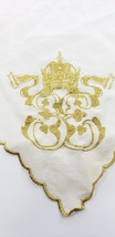 Antique / Vintage Handkerchief Embroidered Gold Royal Crown Embroidery M... - $19.79