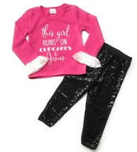 "Cute Kids Clothing ""I Run On Cupcakes & Jesus"" Girl's Pink & Black Sequi... - $22.49"