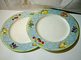 "SET of 2 Mikasa Optima FRUIT RAPTURE Dinner Plates 10 7/8"" more availabl... - $17.99"