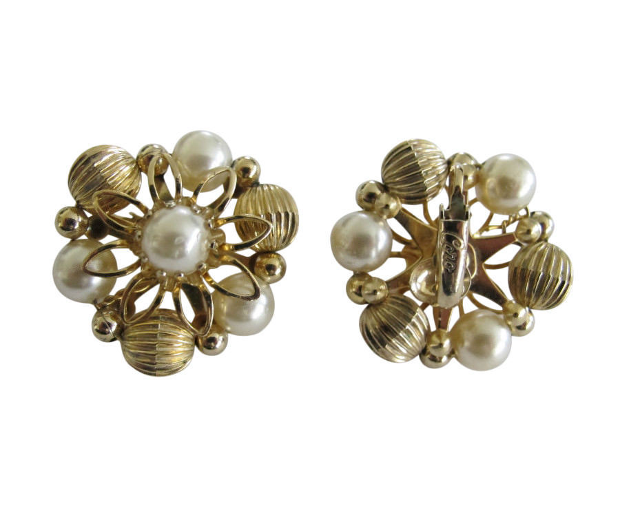 Vintage Coro Gold Tone Bead & Faux Pearl Earring Clips