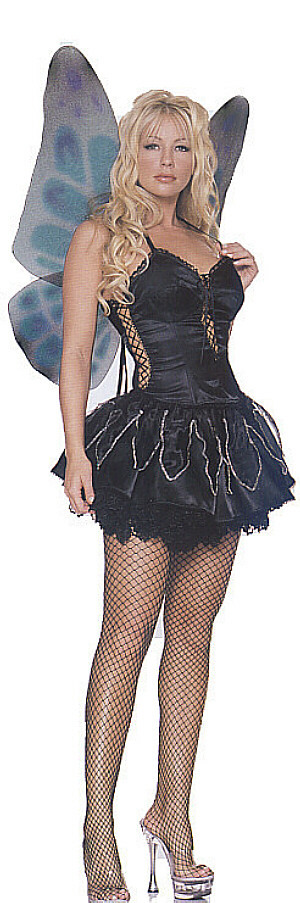 Primary image for Wicked Black Fairy Costume with Wings Black Pixie Gothic Fairy LA8945 M/L