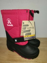 Kamik Girls Kids Youth Pink Black Winter Snow Boots Waterproof Size 1 - $39.59