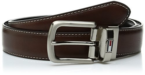 Tommy Hilfiger Men's Leather Reversible Belt,Brown/black,42