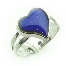 Color Changing Silver Plated Heart Shaped Mood Ring 1x w/Random Color and Design
