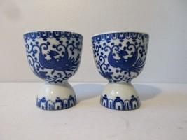 2 Vintage Made in Japan Blue Phoenix Flying Turkey Egg Cups - $14.85
