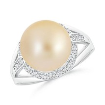 11mm Golden South Sea Cultured Pearl Diamond Ring 14k Solid Gold - $721.71+