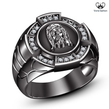 14k Black Rhodium Plated 925 Sterling Silver Round White CZ Mens SPL Jesus Ring - $113.25