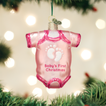 Old World Christmas Pink Baby One Piece Glass Christmas Ornament 32338 - $11.88