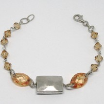 925 STERLING SILVER BRACELET ORANGE FACETED OVAL, WORKED CENTRAL PLATE RECTANGLE image 1
