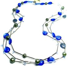 """NECKLACE MULTI WIRES TUBE BLUE DROP SPHERE PETALS MURANO GLASS 90cm 35.4"""" LONG image 3"""