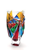 Princess bohemia crystal vase hand painted Murano style Venice - $230.00