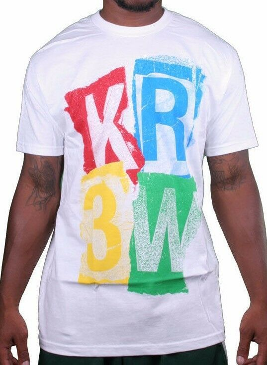 KR3W Krew Cali Mens Ransom Stencil Logo Print Regular White T-Shirt K52677 NWT
