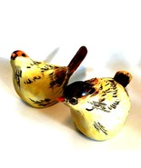 Bird Figurines Wood Look Pair Detailed Wild Birds Beige Brown Orange 6 i... - $54.44