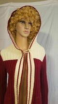 Vintage JANTZEN Maroon & White Hooded Sweater Sz M 1960s - $22.49
