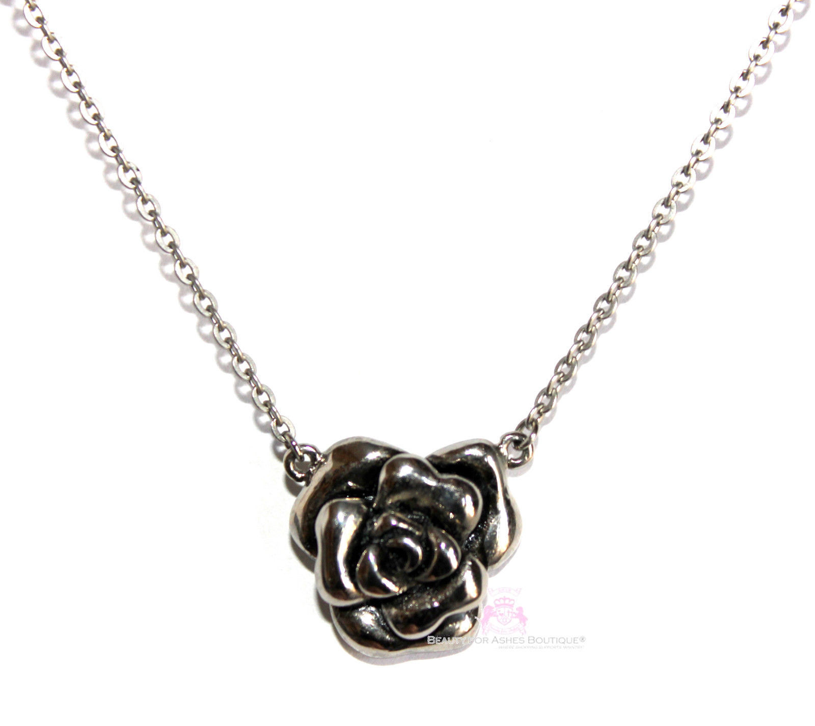 """Womens Ladies 18"""" Solid Stainless Steel Chain Rose of Sharon Pendant Necklace"""