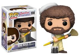 Bob Ross The Joy of Painting w/ Paintbrush Vinyl POP! Figure Toy #559 FU... - $12.55
