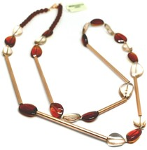 """ROSE NECKLACE AMBER PINK ROUNDED DROPS OF MURANO GLASS TUBE ALTERNATE 40"""" LONG image 1"""