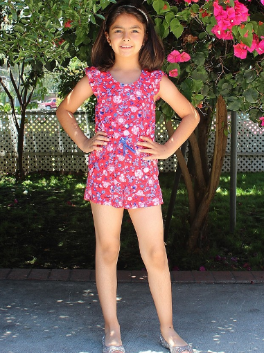 Girls Frill Cap Sleeve Floral Printed Romper with Waist Drawstring