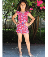 Girls Frill Cap Sleeve Floral Printed Romper with Waist Drawstring - $7.00