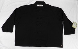 Dickies Chef Coat Jacket 5XL CW070304C Cloth Knot Button Black Uniform New - $39.17